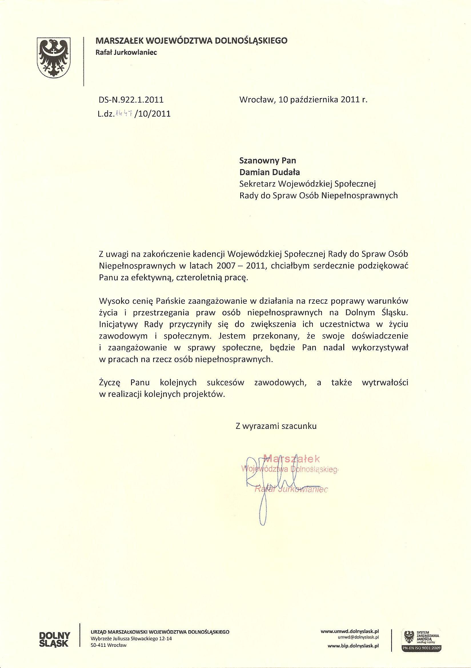 Pismo – Marszałek Województwa Dolnośląskiego